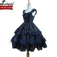 Сладкий Для женщин шифоновое платье Мерцающая звезда серии Lolita jsk по Soufflesong праздничное плиссированное платье белый черный флот синий