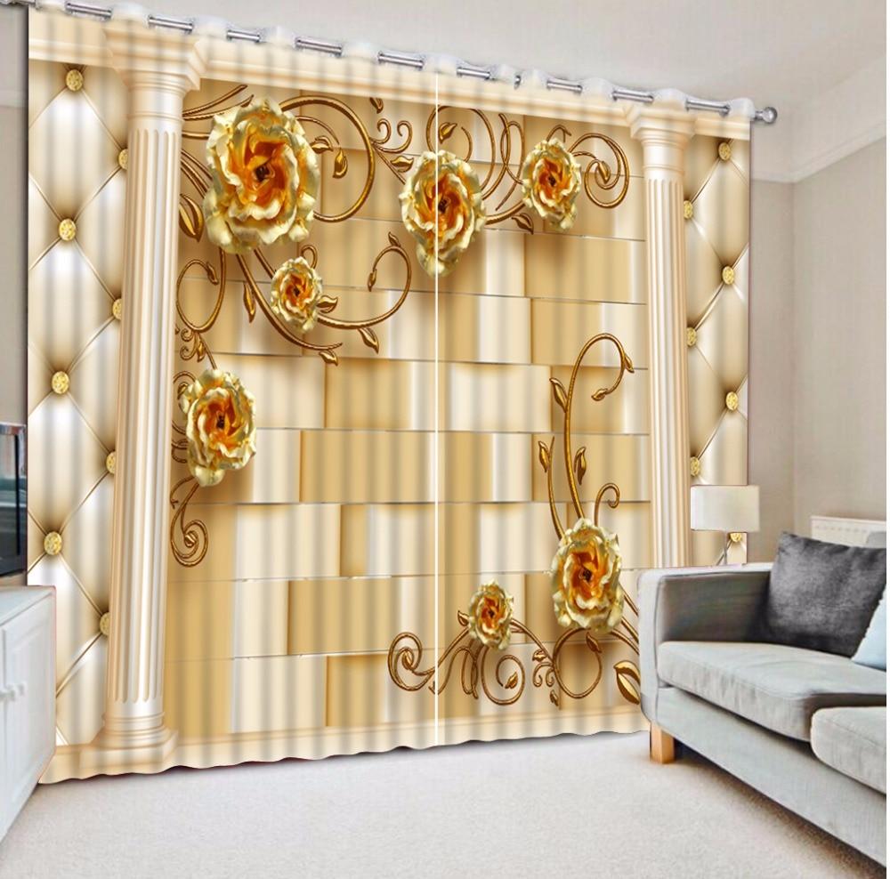 Gold Rose Blackout 3D Curtains For Bedroom Living Room