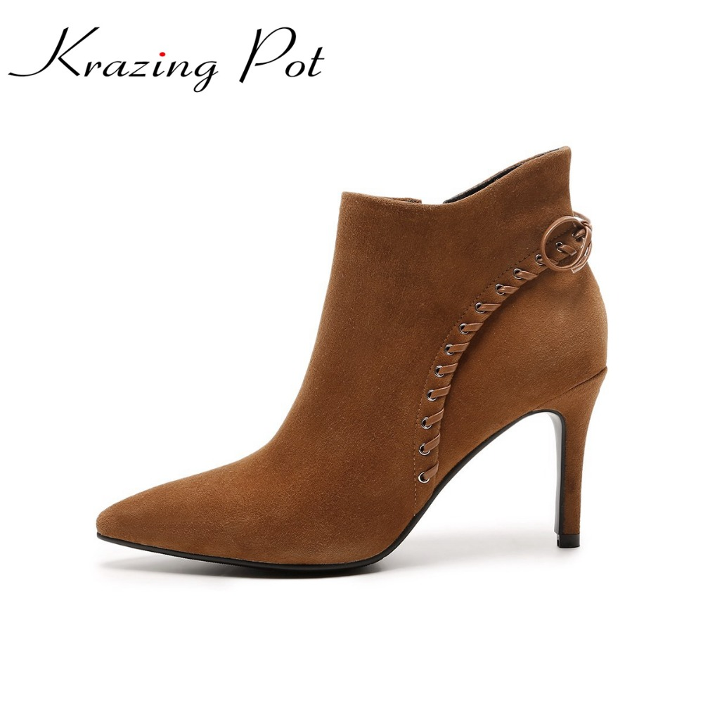 Krazing Pot sheep suede women pointed toe bowtie thin high heels Chelsea boots preppy style high street fashion ankle boots L8s krazing pot empty after shallow shoes woman lace work flats pointed toe slip on sheep suede causal summer outside slippers l16