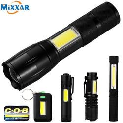 COB LED Flashlight Super Bright Waterproof Handheld Tactical Flashlights Pocket Keychain Work Light for Emergency NO Battery