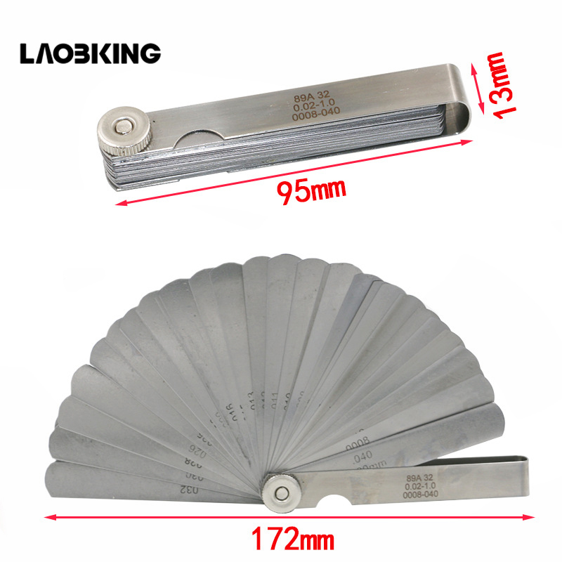 32pcs In 1 Feeler Gauge 0.02-1.0mm Stainless Steel Gap Gauge High Precision Foldable Feeler Gauges Measuring Tool  Plug Feeler