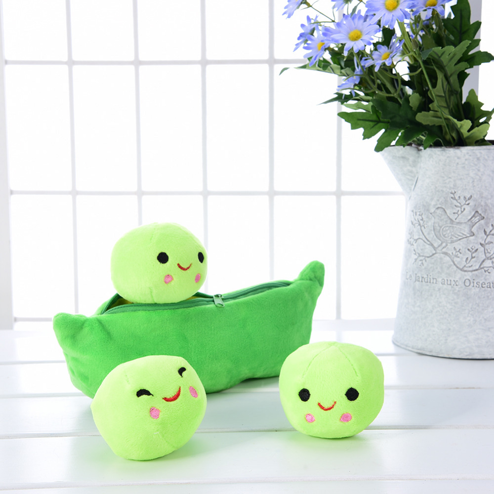 40CM Cute Pea Stuffed Plant Doll Kids Baby Plush Toy High Quality Girlfriend Kawaii For Children Gift Pea-shaped Pillow Toy 2543 carrot shaped pp cotton plush throw pillow orange 40cm length