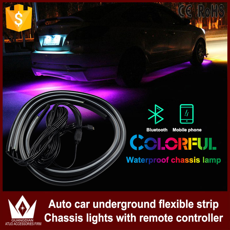 Cheetah 4PCS car rgb app control strip LED Car underbody neon auto light with flow flash ...