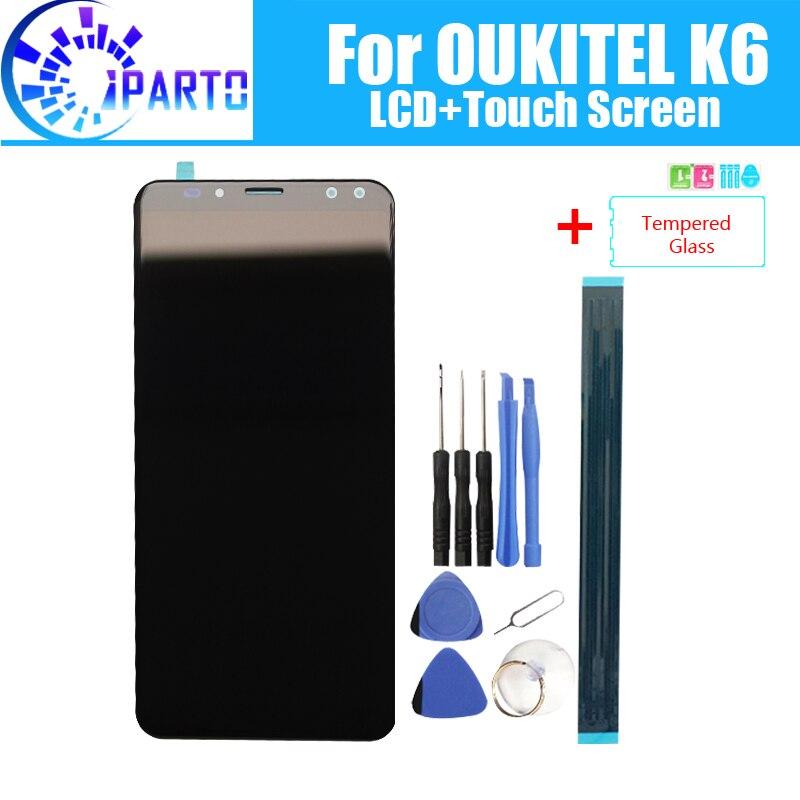 5.99 polegada OUKITEL K6 Display LCD + de Tela de Toque Original de 100% Testado LCD Digitador de Vidro Substituição Do Painel Para OUKITEL K6
