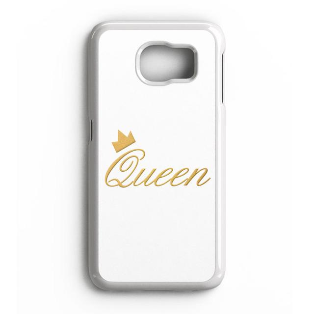 Rainha do rei Casais Caso Tampa Do PC para o iphone 4 4S 5 5S 5C SE 6 6 S 7 Plus Samsung Galaxy S3 S4 S5 S6 S7 S8 Mais Borda A3 A5 A7