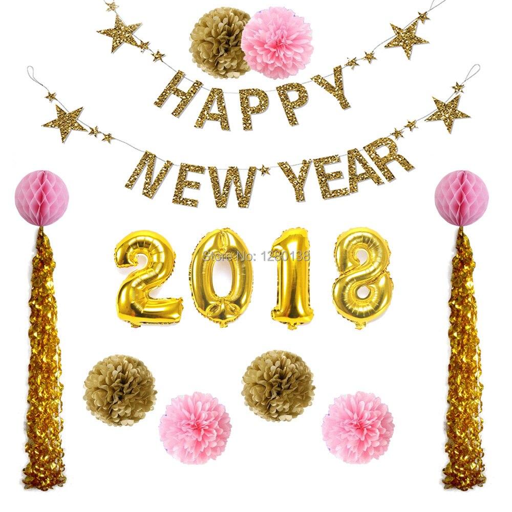 2018 Decoration Gold Foil Number Balloons Swirl Tassel Garland Balon Huruf Pink New Year Year1 4661864357 933032665 4730423944 840828262