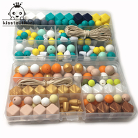 Two Boxes Baby Teether Toys Silicone Teething Pacifier Clip Kit Geometric Hexagon Silicone Teething Beads DIY Nursing Necklack