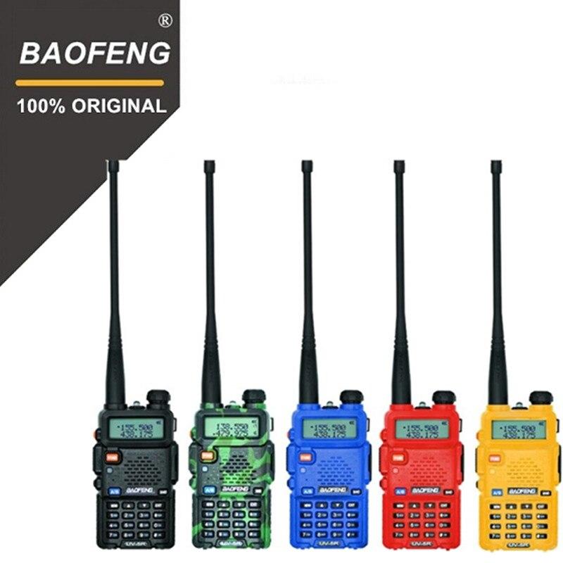 100% Original de Baofeng UV-5R Walkie Talkie de banda Dual profesional 5 W VHF y UHF Radio de dos vías UV5R de caza transceptor HF