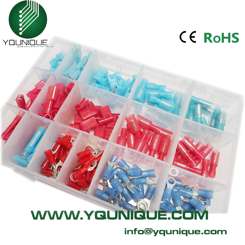 Free Shipping 200pcs  Assorted Spade Butt Ring Fork Set #10 Nylon Insulated Electrical Wire Terminals Crimp Connector 300pcs set assorted insulated electrical wire terminals crimp connectors spade butt 828 promotion