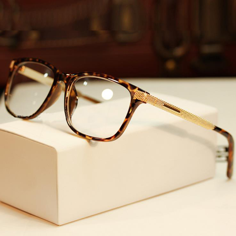 women glasses vintage gold computer eye glasses frame plain mirror ...