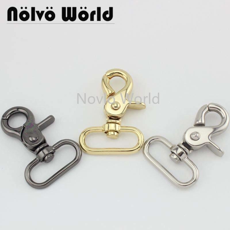 Wholesale 500pcs, 4 Colors Accept Mix Color, 57*31mm 1-1/4 Inch Metal Trigger Snap Hook Handbag Purse Adjusted Swivel Clasp Hook