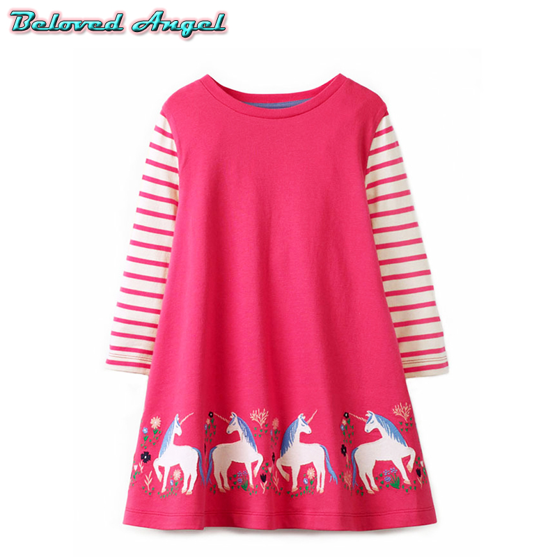 Princess Dress for Girl Costume Long Sleeve Kids Dress Baby Girls Clothes Unicornio Vestidos Girls Dresses with Animal Applique
