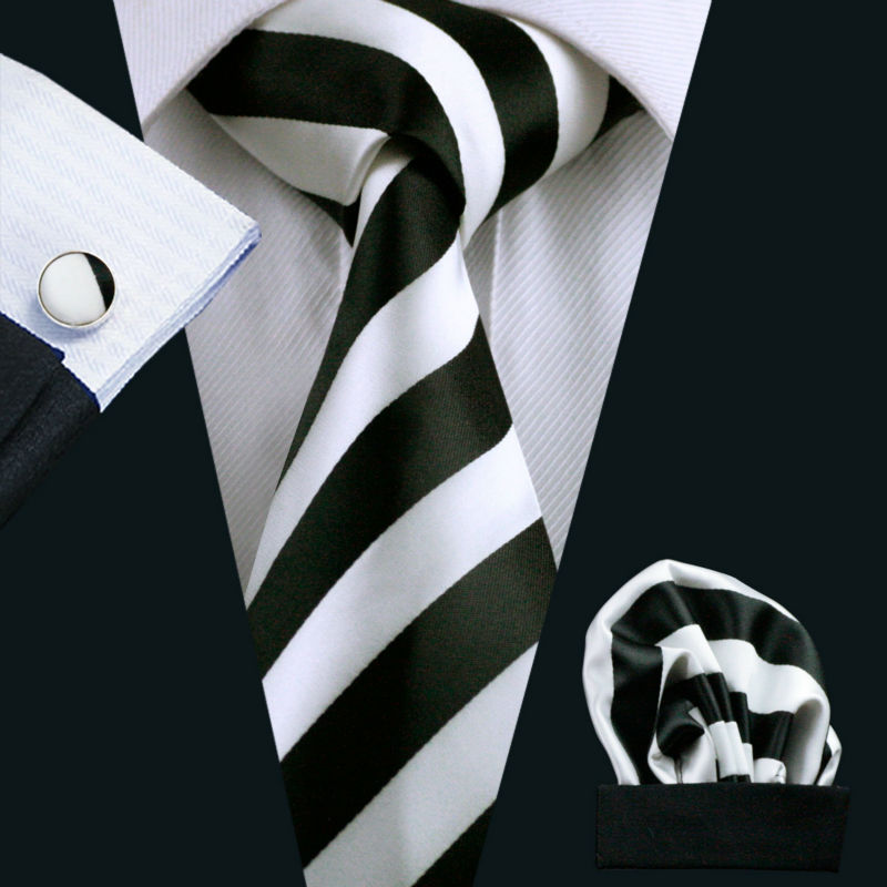 LS-276 Hot Men`s Tie White Black Striped 100% Silk Jacquard Woven Tie Hanky Cufflink Set For Men Formal Wedding Party Business