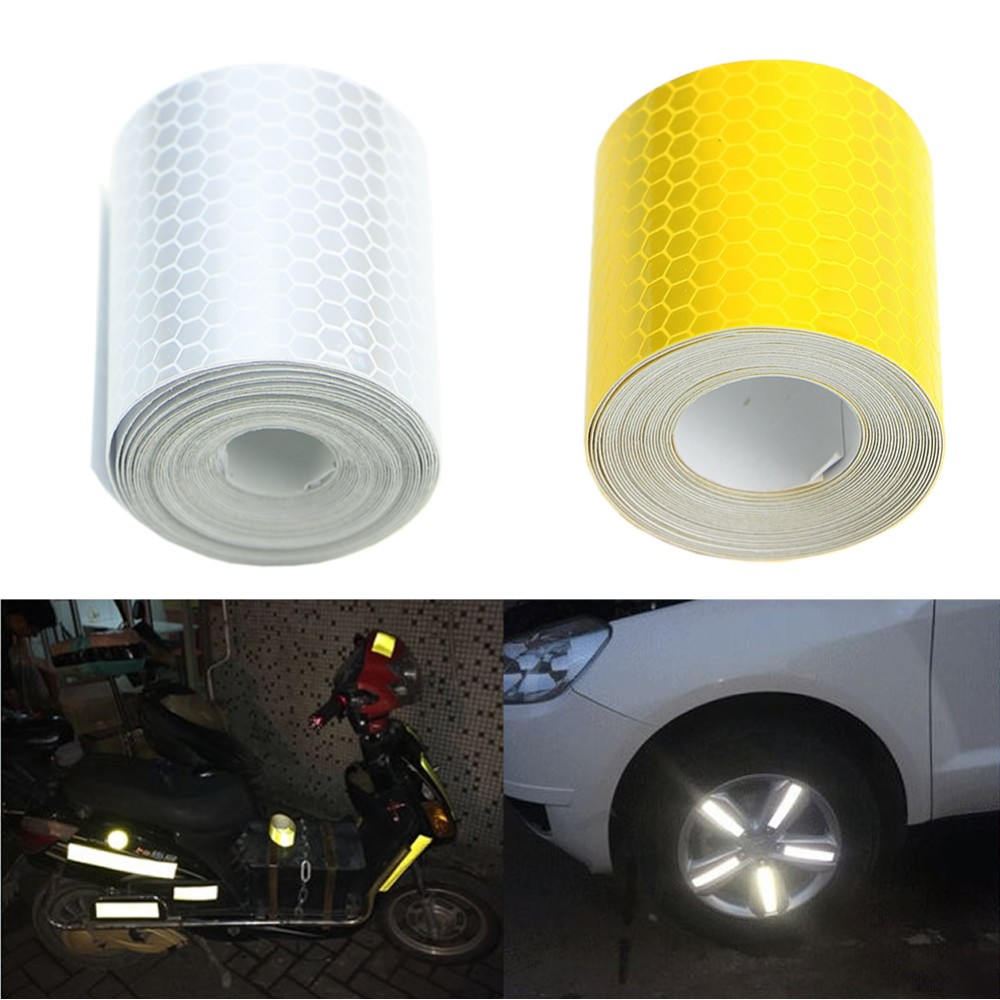 3mx5cm fluorescence pure yellow reflective car truck motorcycle sticker safety warning signs conspicuity tape roll 2016