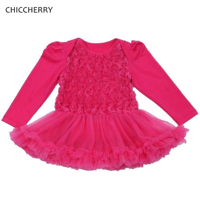 5 Colors Elegant Baby Girl Dress Rose Ballroom Infant Lace Romper Tutus Birthday Wedding Outfits Vestido Menina Newborn Clothes