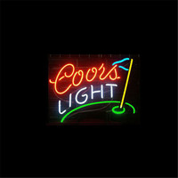 17 14 COORS LIGHT GOLF Outdoor NEON SIGN Signboard REAL GLASS BEER BAR PUB Billiards Store