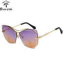 DRESSUUP Cat Eye Sunglasses Mujeres Diseñador de la Marca Sin Montura Moda Mujer Shades Océano Lente Gafas de Sol Lentes De Sol Mujer Gafas