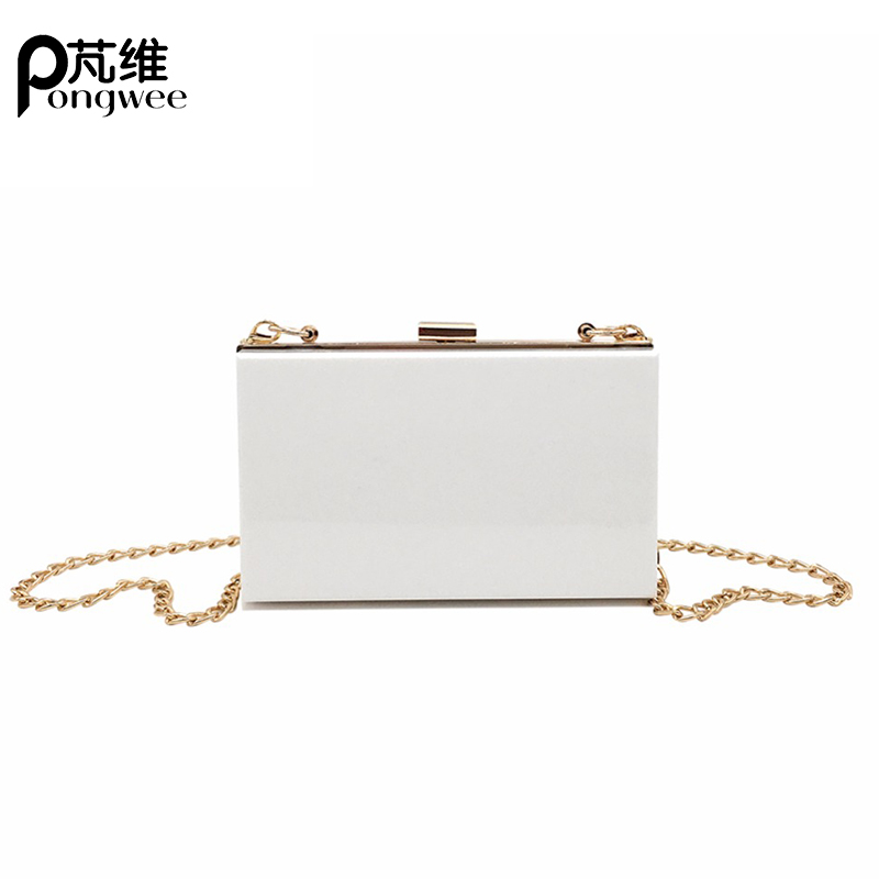 PONGWEE Chain Evening Bag Ladies Small Square Package Clear Plastic Handbags Bag