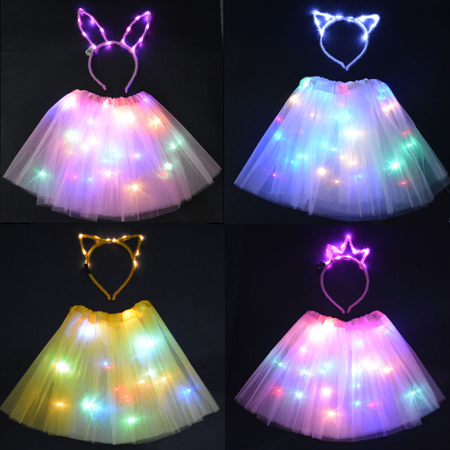Children Glow neon party Tutu Glow LED Light  Cat Bunny Ear Crown headbands Stage Dancing Birthday Party Skirt ChristmasChildren Glow neon party Tutu Glow LED Light  Cat Bunny Ear Crown headbands Stage Dancing Birthday Party Skirt Christmas
