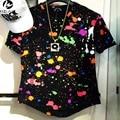 2016 Summer New Style Men Splash Ink T-Shirt Hip Hop Swag Extended 100% Cotton Brand Clothing