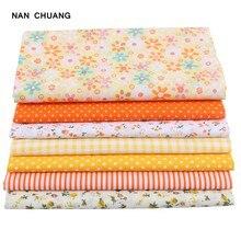 Тонкая хлопчатобумажная ткань Nanchuang, желтая ткань для шитья, скрапбукинга, ткань для одеял, вышивки, узор 25x25 м, 7 шт./лот