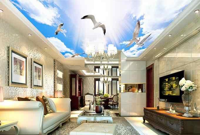 Настройка 3d небо потолок 3d стереоскопические обои голубое небо и белые облака обои небо для потолков обои для стен