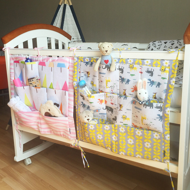 Nordic style multi-layer 100% cotton baby bed storage bag cartoon multifunctional bedside baby diapers storage bags