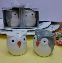 free shipping 2pcs/lot ceramic owl couple salt pepper shakers wedding favors and door gifts, home table decoration supplies