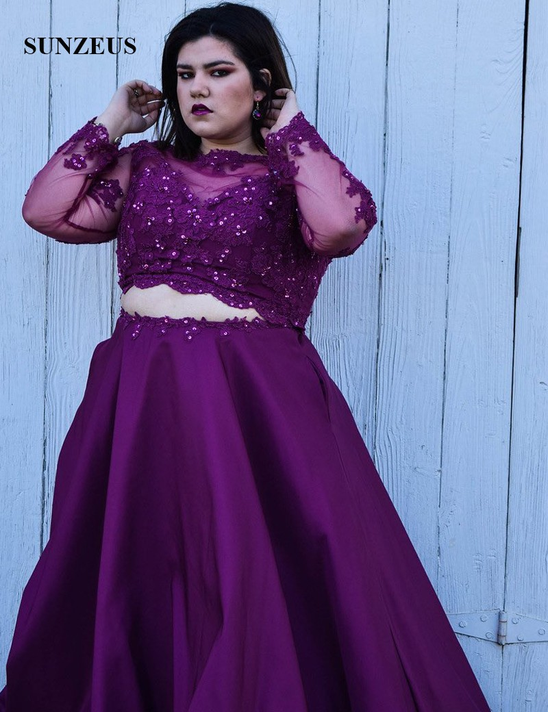 2 Piece Purple Prom Dresses Long Sleeve Scoop Plus Size A Line