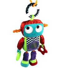 32cm Baby Soft Robot Plush Toy Crib Bed Stroller Hanging Robot Cute Android Teether Rattle Ring Bell Doll