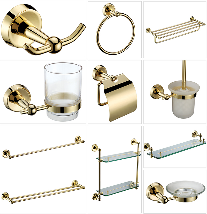 Polished Gold Bathroom Hardware Set Toothbrush Holder Metal Wall Mounted Towel Bars Solid Brass Soap Dish Bathroom Glass Shelves image