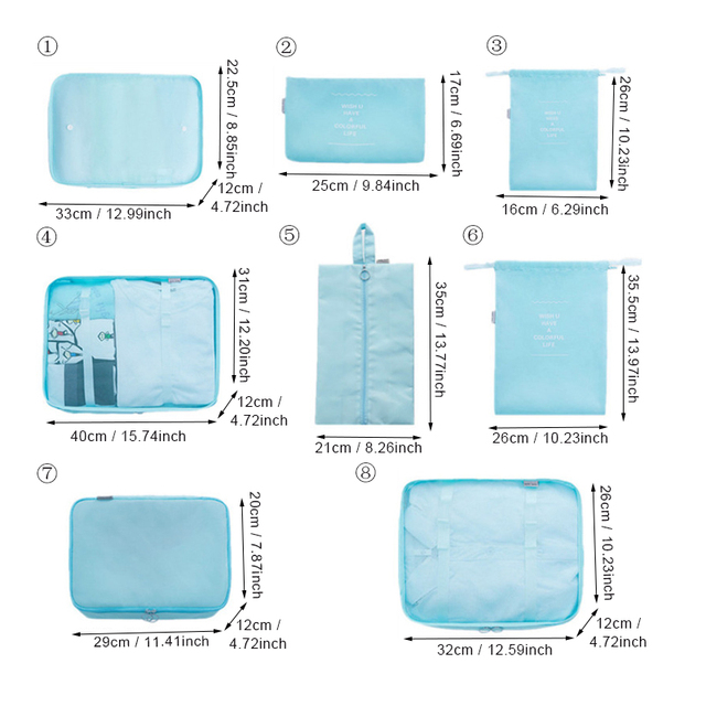 Travel Bags Sets Waterproof Packing Cube Portable Clothing Sorting OrganizerAccessories 8pcs