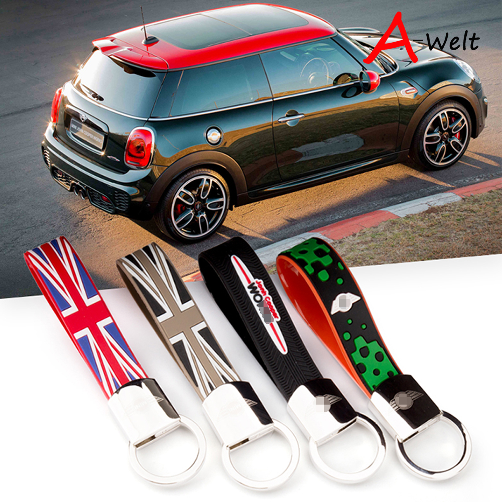 Metal and Rubber car key chain ring remote key holder for Mini John Cooper Works R55 R56 R57 R58 R59 R60 R61 F55 F56 Car-Styling car 3 5mm audio cable mini cooper one s jcw r55 r56 r57 r58 r59 r60 r61 f56 f55 clubman countryman 80cm car aux cable
