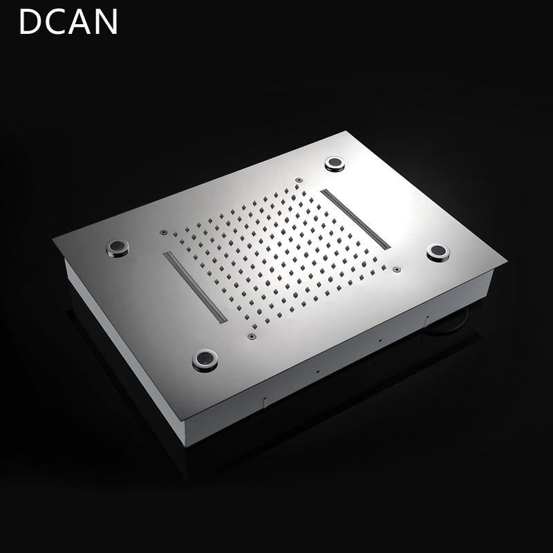 DCAN Ceiling Mount Square Fixed Rainfall Shower Head with 3 Way Thermostat Bathroom Shower Faucet Chrome Handheld Shower System