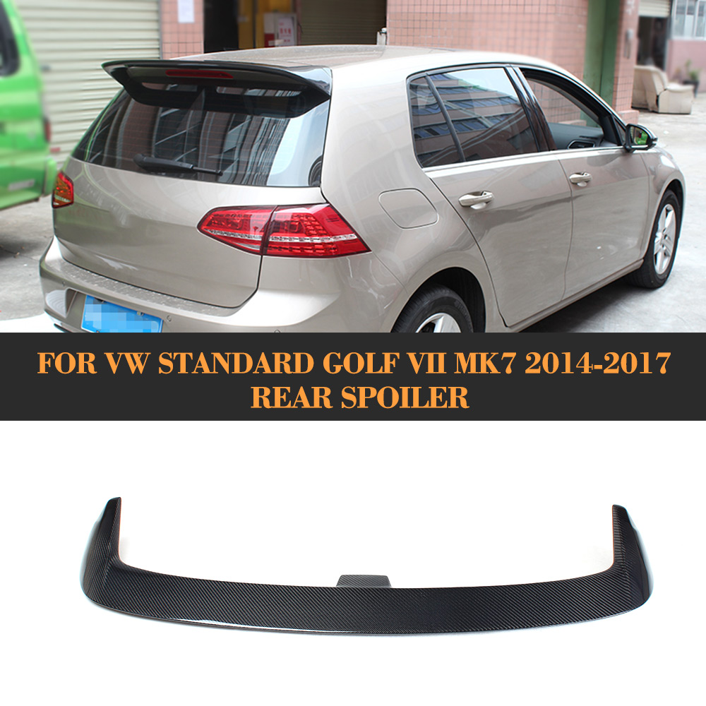 Carbon Fiber Rear Wing Auto Racing Car Tail Trunk Roof Lip Spoiler For VW Golf 7 VII MK7 2014 2015 2016 V style carbon fiber nism style hood lip bonnet lip attachement valance accessories parts for nissan skyline r32 gtr gts