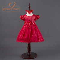 Baby Girls Flower Dresses For Party Wedding Babies Infant Toddler Red Rose Princess Dress Headwear Vestido