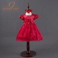 Baby Girls Flower Dresses For Party Wedding Babies Infant Toddler Red Rose Princess Dress Headwear Vestido