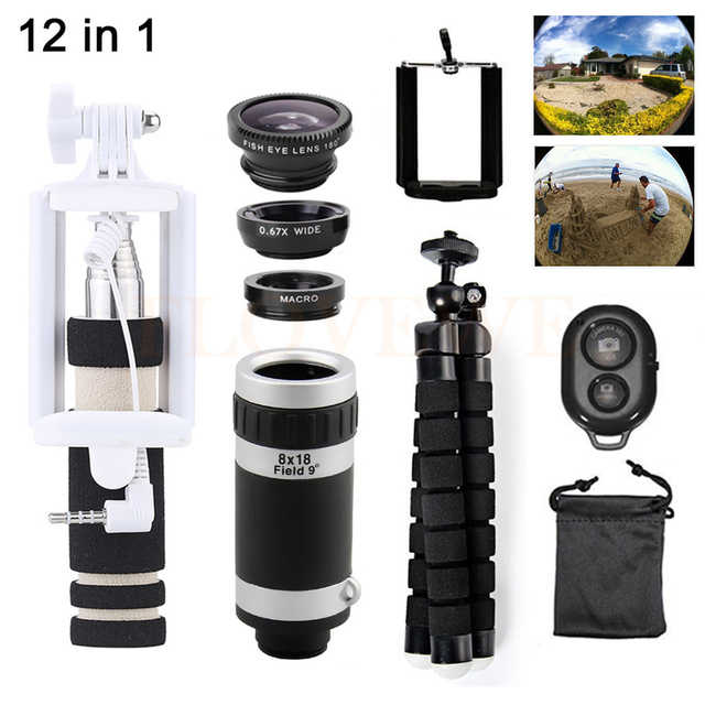 Phone Lentes 12in1 Kit 8X Zoom Telephoto Lenses Telescope Microscope+Tripod+Fish eye Wide Angle Macro Lens For Samsung Huawei