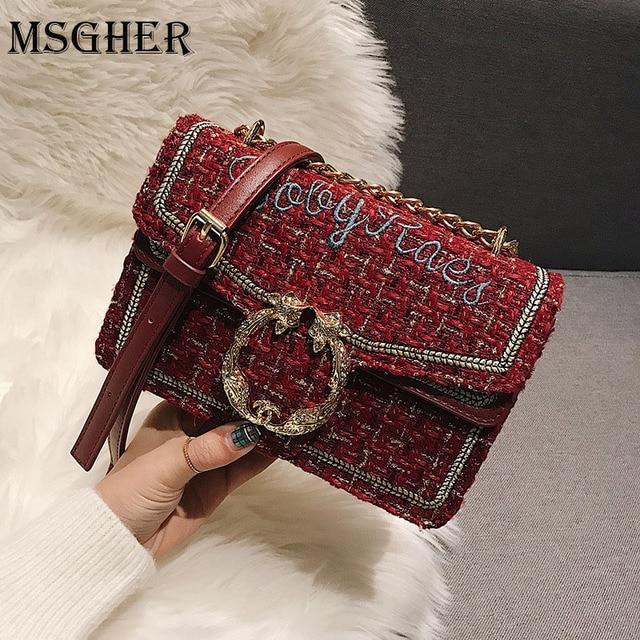 MSGHER Elegant Chains Women bag 2019 Checkered Tweed handbag Sweet Girls  Woolen Satchel bag Pearl Shoulder ff6b8c077782