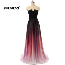 Doragrace robe de soiree A-Line Sleeveless Gradient Chiffon Long Evening Dresses