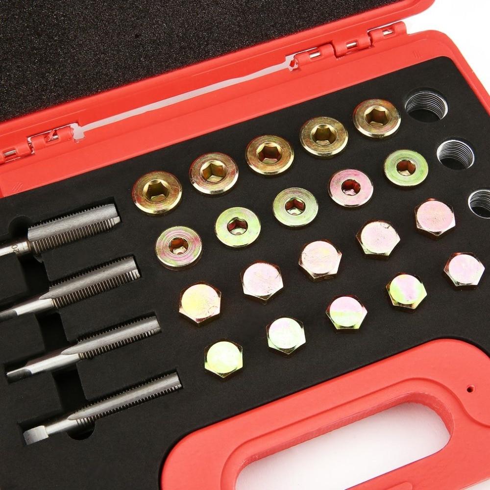 Newest Original 64pcs Oil Pan Thread Repair Kit Sump Gearbox Drain Plug Tool Set M13 M15 M17 M20 Bolt Thread Auto Repair Tools