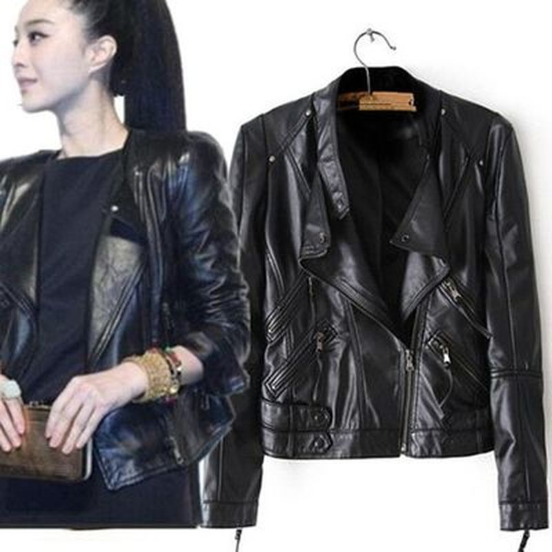 Leather   Jacket Female Jackets Coat Slim Biker Motorcycle Soft Zipper girl   Leather   Jaquetas De Couro feminina women's clothing