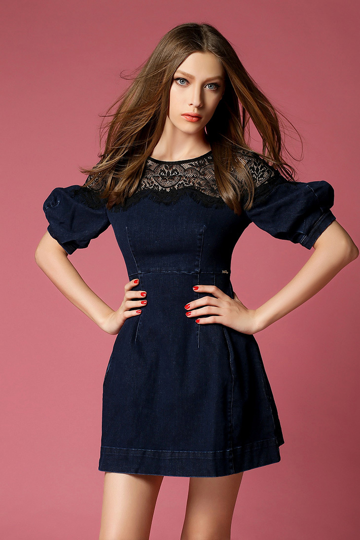 Miss Coco Sixty Splicing Y Lace Denim And High Quality Spring Las Dress Dresses In From Women S Clothing Accessories On