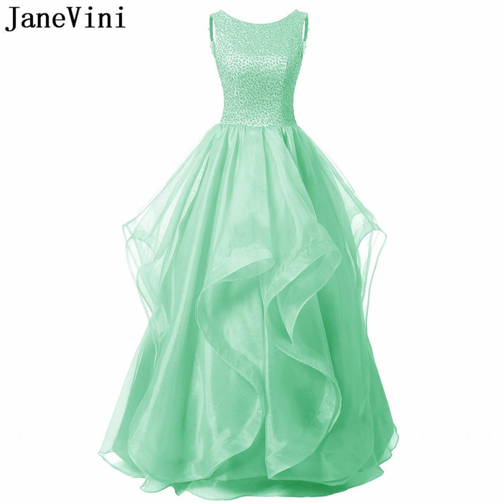JaneVini Elegant Mint Green Long   Bridesmaid     Dresses   Scoop Neck Luxury Beaded Backless A Line Floor Length Tulle Prom Party Gowns