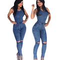 Sexy Lace Up Jeans Long Jumpsuit 2016 Autumn Winter Sleeveless V Neck Bodycon Combinaison Femme Rompers Women Jumpsuit