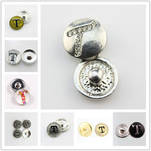 10pcs/lot Rhinestone Alphabet T Letters Snap Buttons Fit Snap Button Jewelry Earring Necklace 18mm 12mm(China)