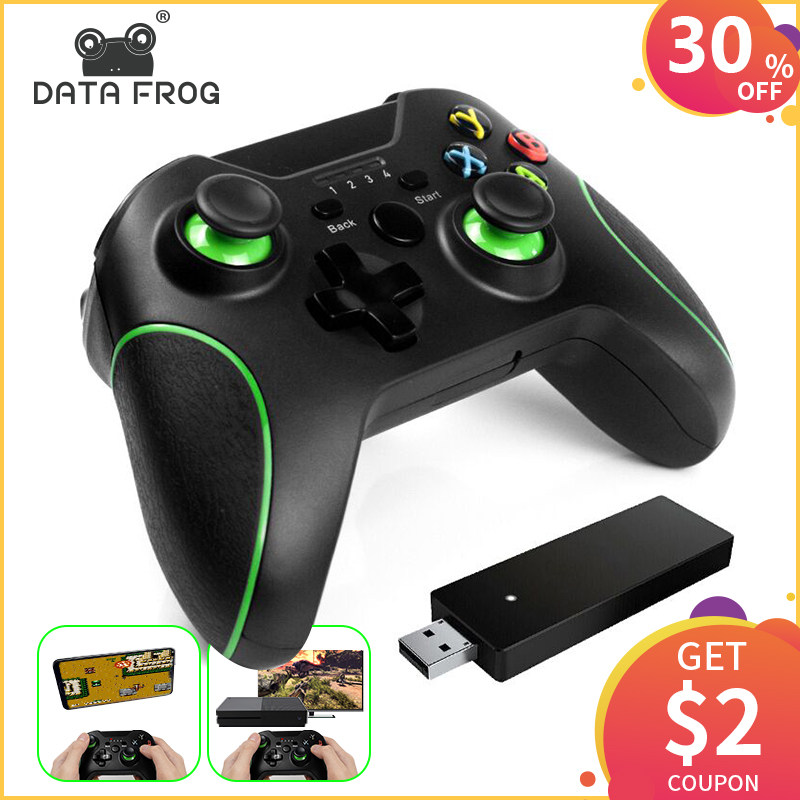 DATA FROG Black And White Wired Vibration Gamepad With USB Cable Game  Controller Joystick For PC Gamepads High Quality