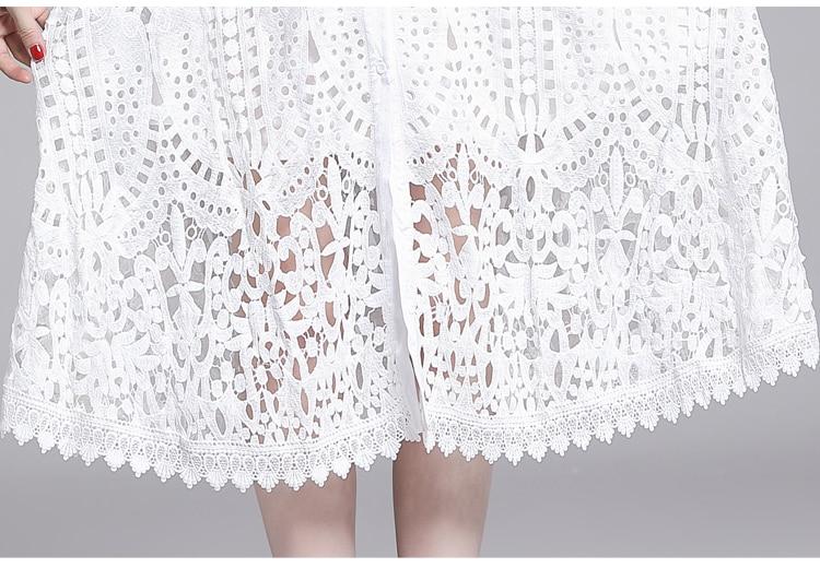 Elegant White Black Lace Hollow Out Dress 11