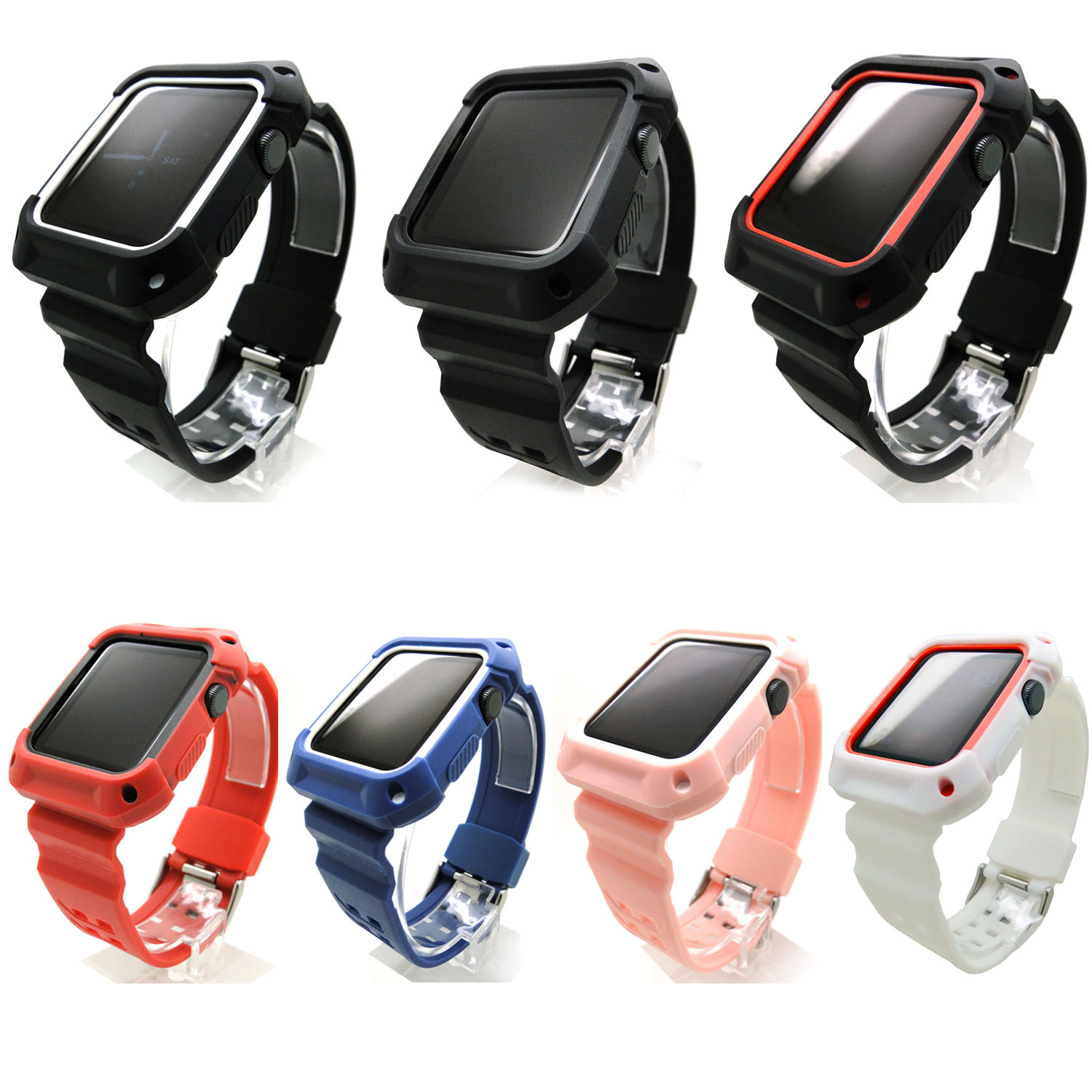 Colorful Silicone Watch Band with Rugged Protective Case Cover for Apple Watch iWatch Series 1/2 Strap Bracelet 38mm 42mm eache silicone watch band strap replacement watch band can fit for swatch 17mm 19mm men women