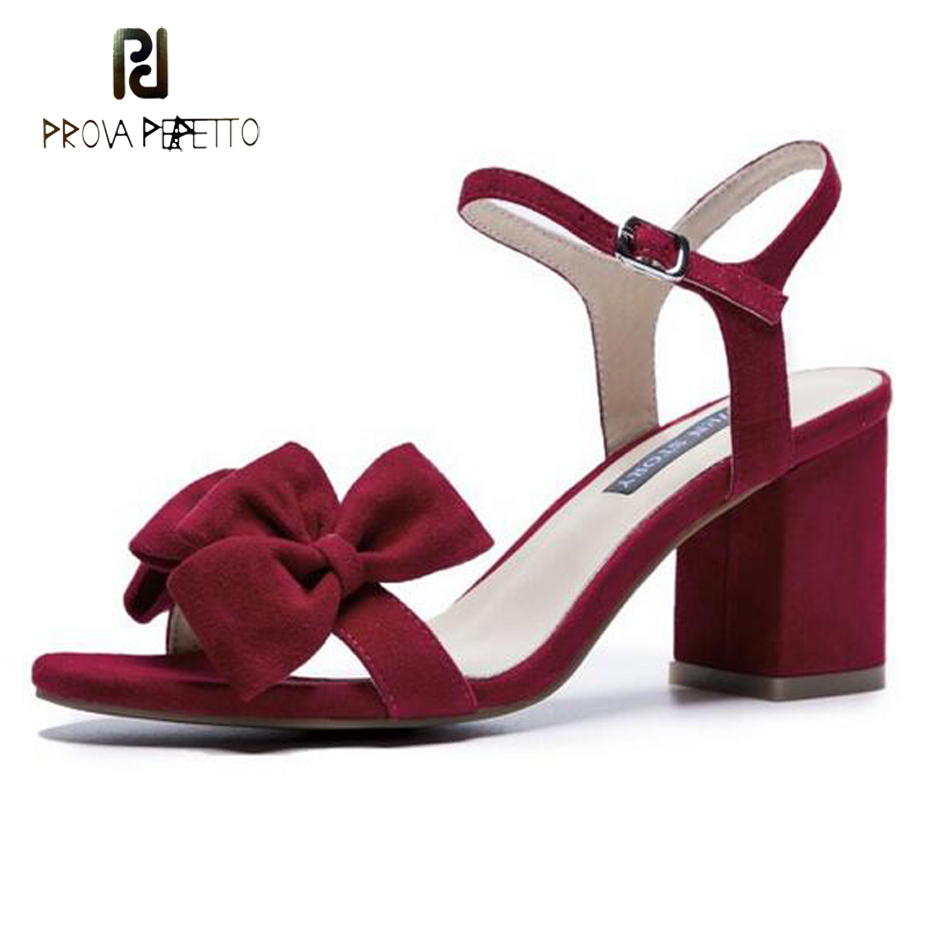 Prova Perfetto red butterfly knot women sandals solid color suede buckle strap 6.5cm square heel fashion lady dress party shoes genuine leather women sandals high chunky heel square toe cover heel sheepskin buckle strap butterfly knot elegant women shoes